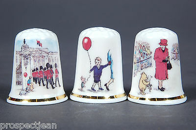 Queen & Winnie the Pooh Celebrate 90th Birthdays Together SetThimbles+ CertB/103