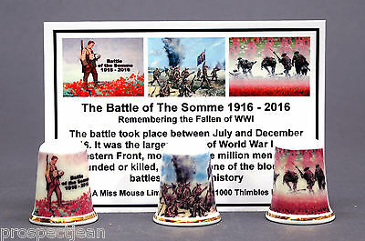 WW1 The Battle of The Somme 1916-2016 Boxed Set of 3 Thimbles Ltd Ed+ Cert B/174