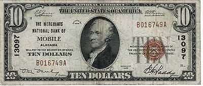 1929 National Currency Merchants National Mobile AL $10 Type 1 VF