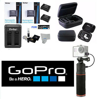 2X Batteries Ahdbt-401 + Power Bank + Dual Charger + Hard Case For Gopro Hero4