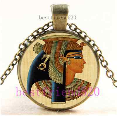 Vintage Egypt Cleopatra Cabochon Glass Bronze Chain Pendant Necklace