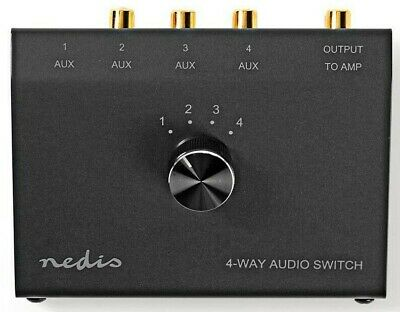 NEW METAL 4 PORT AUDIO SWITCH WITH 3 PHONO + 1 x 3.5MM
