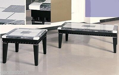 Black & White color Marble top Espresso base Coffee table & End Table furniture