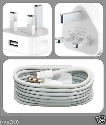 Mains Charger USB Wall Plug+Data Sync Cable For Apple iPhone iPhone 6s 5 iPad UK