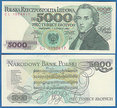 Poland 5000 Zlotych P 150 a 1982 UNC Polska  Low Shipping! Combine FREE (P-150a)