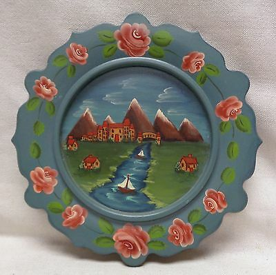 Beautiful Estate Found Vintage '85 Hand Painted Decorative Wooden Plate