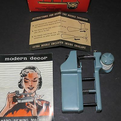 Vintage Hand Held Sewing Machine Kit w/ Instruction Booklet 1950's Modern Decor