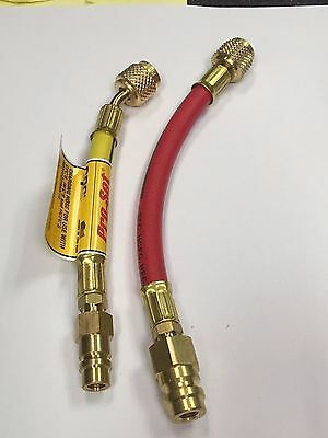 R12 TO R134A Flex Hose Adapter Set Use w/R134a Gauges, BOTH HOSES 1/4