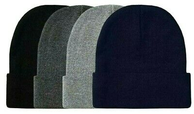 Lot of 6 Beanie Men Women Dark Colors Winter Cuffed Knit Beanies Hats Cap Caps