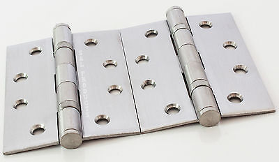 2pr Heavy Duty Door Hinge Stainless Steel Butt Ball Bearing 100mm