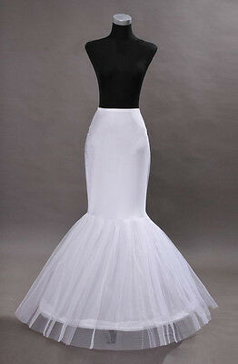 1-Hoops Mermaid White Petticoat Wedding Dress Crinoline Petticoat Skirt Slip