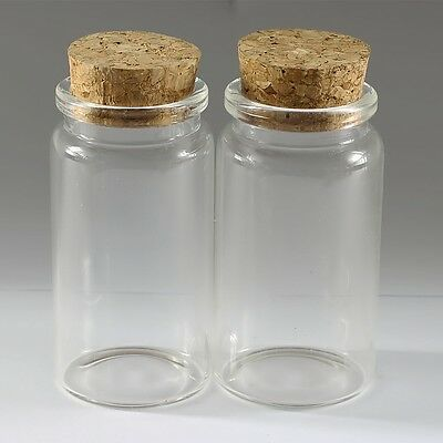 50ML(37*70mm)Wholesale Lot Empty Clear Cork Glass Bottles Vials With Cork