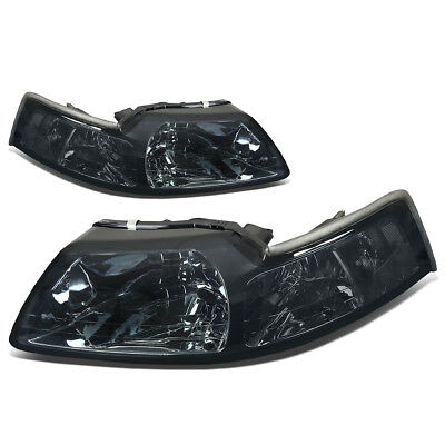 Fit 1999-2004 Ford Mustang Pair Smoked Housing Clear Corner Headlight/Lamp Set
