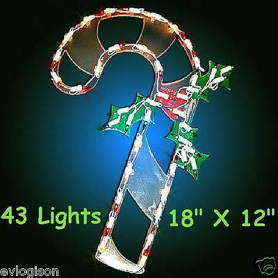 Candy Cane Lighted Sculpture 43 lights Christmas Window Wall Decoration
