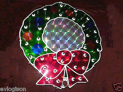 """18"""" Lighted Holographic Wreath 35 Red and Green Lights Christmas Decoration"""