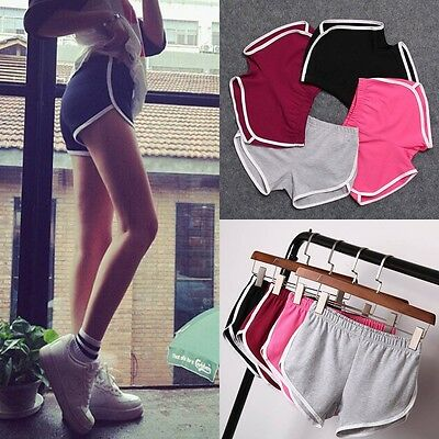 Women Summer Pants Sports Shorts Gym Workout Waistband Skinny Yoga Short