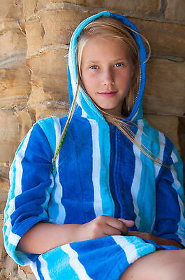 Hooded Towelling Robes - Blue Stripe - Go Splash