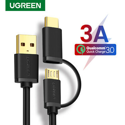 UGREEN 2 in 1 Micro USB Type C Data Charging Cable For MacBook Nexus 5X 6P HTC