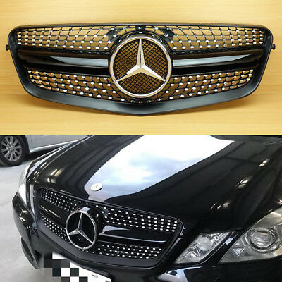 Diamond 10-13 Shiny Black Front Grille For M-Benz E-Class W212 E63AMG Look