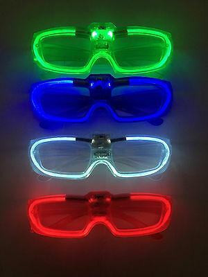 5x Sound Reactive LED Glasses - Glow in the Dark Flashing Blue Green Red White