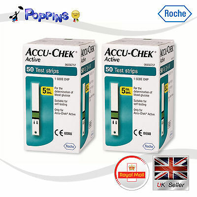 New 100 Roche Brand ACCU CHEK Active 100(50 X 2=100) Test Strips 2 Box Sealed