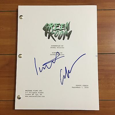 GREEN ROOM SIGNED MOVIE SCRIPT BY  IMOGEN POOTS & ANTON YELCHIN w/PROOF AUTO