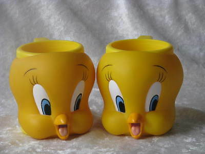 2 Tweety Bird  MUGs Warner Brothers LOONEY TUNES 1992 Collectible Face