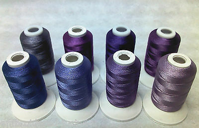 8 X 1000M Reels Of  Polyester Machine Embroidery Threads - Purple Shades