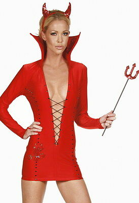 Tenue Diable Mini Robe Demon Halloween T36-38-40 Costume