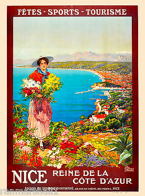 Nice Cote d' Azur French Riviera France European Travel Advertisement Poster