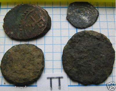 SILVER & BRONZE 4 Authentic UNCLEANED COINS Midievel Ancient  Æ AR COIN LOT  #TT
