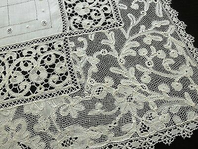 FINE Antique c1900 Mixed Lace CANTU VIEUX FLANDRES Small Tablecloth Runner 22x30