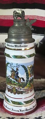 Vintage Replica Named German WW1 Regimental Military Artillery Beer Lidded Stein