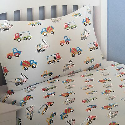 Single Fitted Sheet & Pillow Case Two Piece Set Children Boys Trucks and Diggers