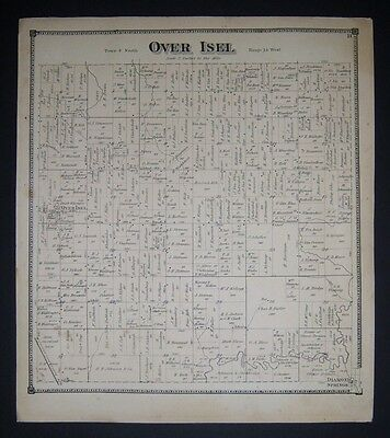 1873 original Plat Atlas page OVER ISEL TOWNSHIP, Michigan.