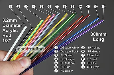 "3.2mm 1/8th"" Round Coloured Acrylic Perspex Rods 300mm Transparent Fluorescent"