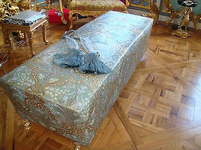 Leather Day Bed , Embossed & Painted In Paris Antique Bronze Dolphin Feet
