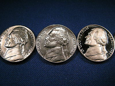 1981 P D S Jefferson Nickel's 1-P 1-D Brilliant Uncirculated Mint Coin's 1 Proof