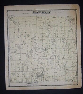 1873 antique original Allegan County Plat Atlas page MONTEREY TOWNSHIP, MICHIGAN
