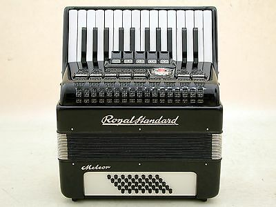 Excellent Black German Piano Accordion Royal Standard Meteor 40 bass with case.