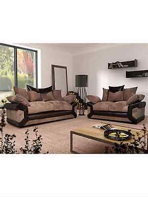 Tango Jumbo Cord Fabric + Leather 3+2 Seater Sofa In Black Grey Brown Beige*