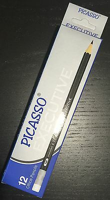 12 Picasso Executive Hb Black Lead Eraser Tipped Pencils School, Office