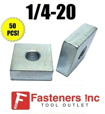 "(4841) 1/4""-20 X 1-1/4 X 1-1/4 Square Nuts for Unistrut/B-Line Channel (50 Pack)"