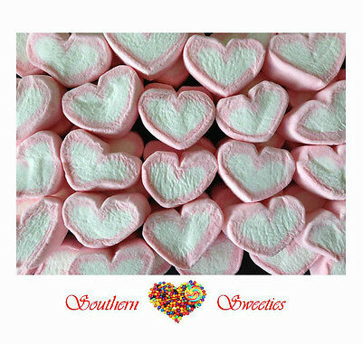 PINK WHITE HEARTS STRAWBERRY MARSHMALLOW 1kg Lollies Bulk Candy Buffet Weddings