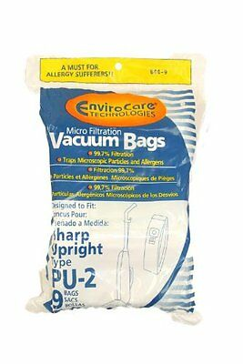 Sharp Upright Types PU-2 Vacuum Bags Microfiltration with Closure - 9 Pack