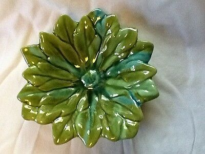 California Pottery ??? (unmarked) Blue & Green Flower Pottery Bowl