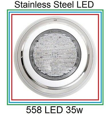 HQ Stainless Steel 558 LED Lights RGB 7 Colour Swimming Pool Spa Wall Mounted
