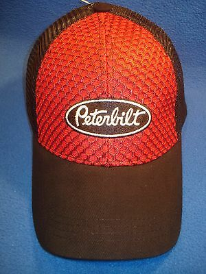 Peterbilt Hat :    Red Honeycomb Front / Mesh Back   *free Shipping*
