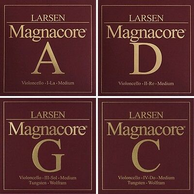 Larsen Magnacore Cello String Set (A D G & C) Medium Tension 4/4 Full Size