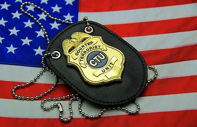24 Hours TV Series CTU Special Agent Prop Badge & Leather Holder-US153
